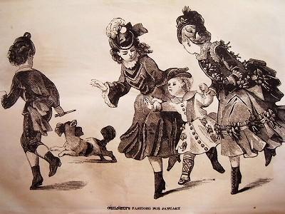 19世紀、アメリカで発行されたファッション雑誌です。 当時の女性や子供のファッション、生活様式などがボリュームたっぷり楽しめます。  この時代の女性にとって図案や
